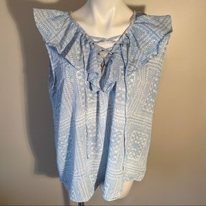 Perch Ruffled Tie Front Sleeveless Blouse